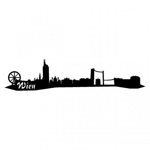 Wandtattoo Wien Skyline Wandaufkleber viele Farben und Größen sofort lieferbar in 8 Größen und 25 Farben (40x9cm schwarz)