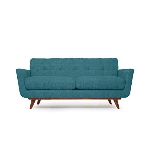 Modern Mid-Century Art Deco Retro Loveseat Sofa, Turquoise Blue Fabric, Wood Legs w/ Honey Stain 78 x 35 x 33 Nixon Series