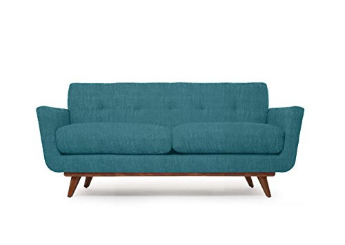Modern Mid-Century Art Deco Retro Loveseat Sofa, Turquoise Blue Fabric, Wood Legs w/ Honey Stain 78 x 35 x 33 Nixon Series 0
