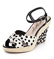 Open Toe Crossover Strap Spotted Wedge Sandals
