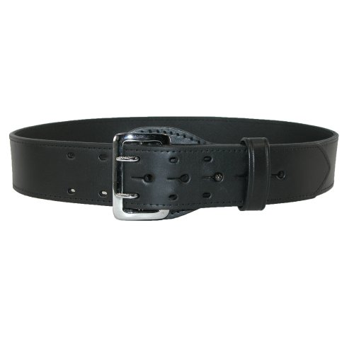 Boston Leather Mens Leather Fully Lined Sam Browne 2 1/4 Inch Officer Belt, 34, Black