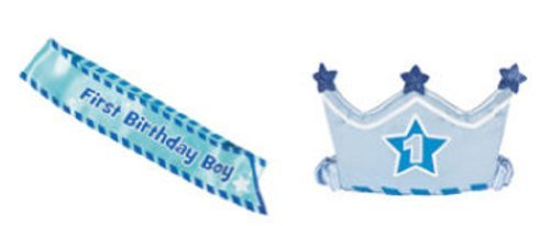"""1st Birthday Boy"" Sash & Crown Headband Blue Satin/birthday/party Supplies/baby - 1"