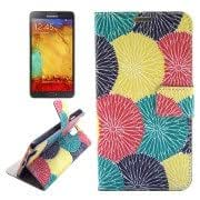 Abstract Colorful Flowers Pattern Horizontal Flip Leather Case with Holder Card Slots Wallet for Samsung Galaxy Note III / N9000