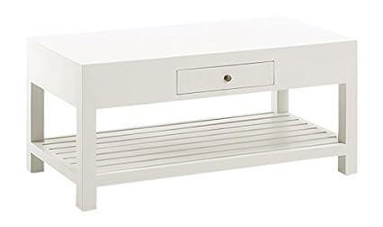 Moycor New White - Mesa de centro, 1 cajón, 1 estante, 100 x 50 x 45 cm
