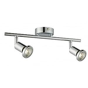 Modern 2 Light Ceiling Spotlight Bar in Polished Chrome with 2 x 50 watt Halogen Lamps by Lights4Living