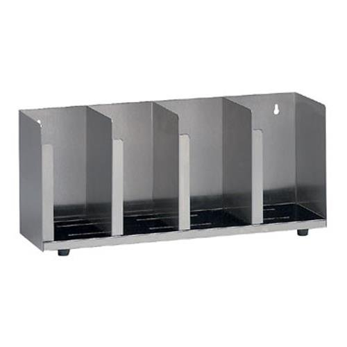 Dispense-Rite CTLD-19 Four Section Stainless Steel Cup and Lid Organizer