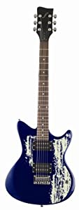 first act me480 electric guitar with double cutaway blue tire track design. Black Bedroom Furniture Sets. Home Design Ideas