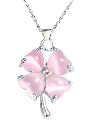925 Sterling Silver Opal Four Leaf Clover Pendant Necklace With 18