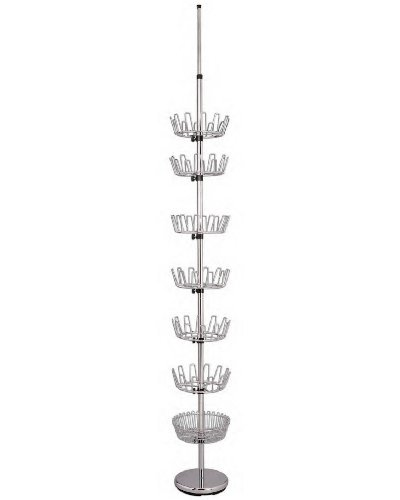 Floor to Ceiling Chrome Shoe Tree Rack - 7 Carousel