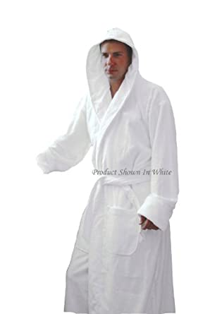 Hooded Terry Bathrobe. 9 Colors Available (Navy Blue)
