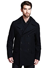 Autograph Wool Blend Double Breasted Pea Coat