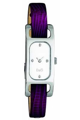 D&G Dolce&Gabbana Foxy Lady/ DW0096 - Reloj analógico de mujer de cuarzo con correa de piel lila - sumergible a 30 metros