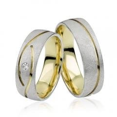 Bi-Colour 333 gold engagement rings, set of 2 with 1 Diamond