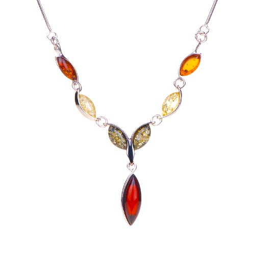 ANYA Sterling Silver Necklace with Amber