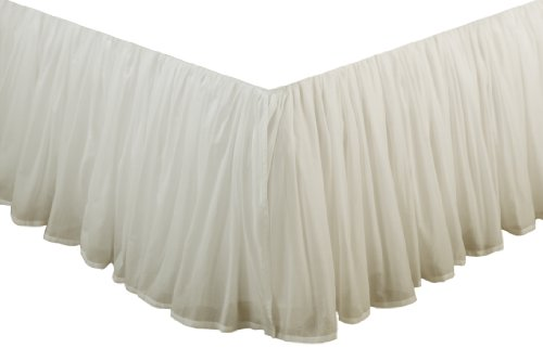 Greenland Home Fashions Cotton Voile Bed Skirt 15-Inch, Ivory, Twin front-178771