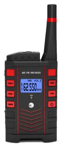 Ambient Weather WR-090 Emergency Pocket AM/FM/WB Weather Alert Radio with Digital Tuner and Flashlight