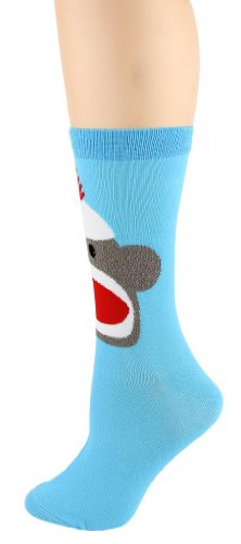 Foot Traffic Women's Sock Monkey Socks Size 9-11 Turquoise