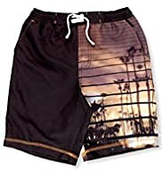 Contrast Drawstring Sunset Print Swim Shorts