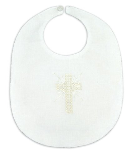Stephan Baby Christening Bib with Embroidered Cross, Unisex, White