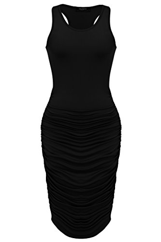 Zeagoo Women's Summer Sexy Stretch Ruched Sundress Plus Size Bodycon Midi Tank Dress