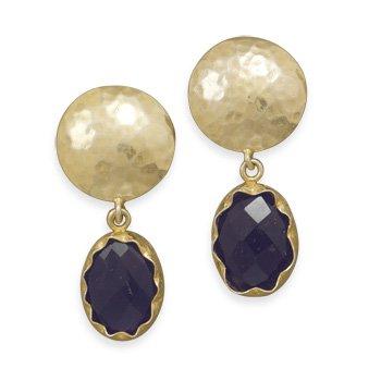 14 Karat Gold Plated Amethyst Clip-On Earrings