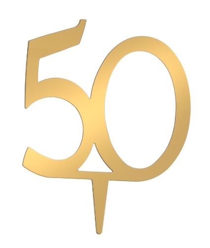 Golden 50th Wedding Anniversary Cake Decoration