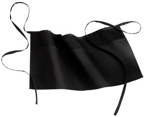 Upscale Cotton Poly Easy Care Waist Apron with Pockets - Black