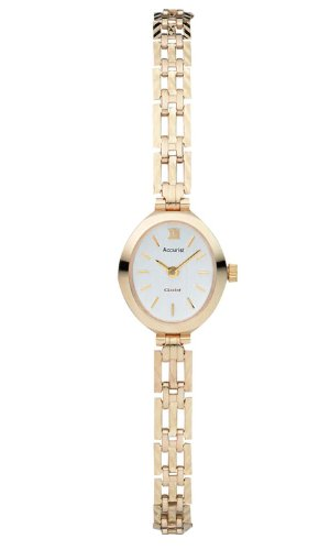 Accurist Women's Quartz Watch with Silver Dial Analogue Display and Gold Gold Bracelet GD2868
