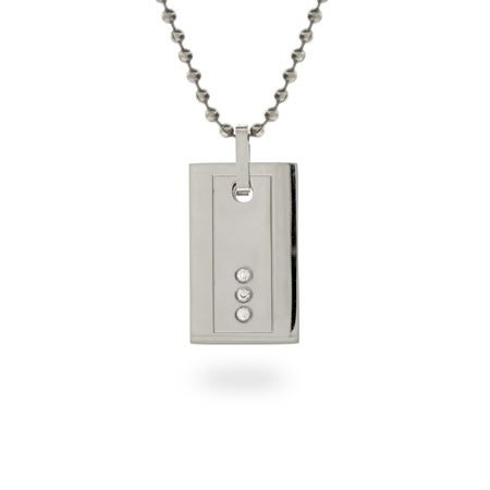 Rectangular Stainless Steel Dog Tag Necklace with CZs Length 24 inches (Lengths 18 inches 20 inches 24 inches 36 inches Available)