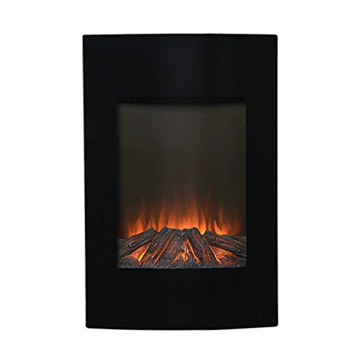 Black Metal 35-inch Tall Wall Mount Remote Controlled Electric LED Firebox (Tall Fireplace compare prices)