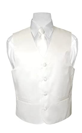 BOY'S Solid OFF-WHITE Color Dress Vest NeckTie Set size 6