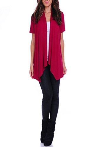 4GOG Apparel Women's S-3X Size Solid Short Sleeve Cardigan Wine Medium