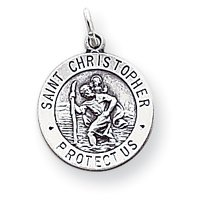 Sterling Silver St. Christopher Medal Charm- 15mm - Made in the USA
