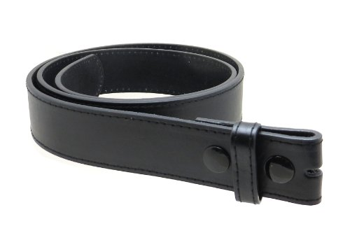 "Leather Belt Strap with Smooth Style and Stitching 1.5"" Wide with Snaps (Black-L)"