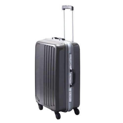 TSAロック搭載 フレームタイプスーツケース キャリーバッグ 大型ヒノモトキャスター装備 スマートX2ハードキャリーケース・Mサイズ  (グレー)