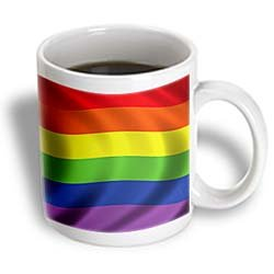 Carsten Reisinger Illustrations - Rainbow flag gay rights lesbian homosexual banner symbol symbolic waving - 11oz Mug (mug_155050_1)