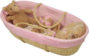 Minkie Dot Moses Basket Pink