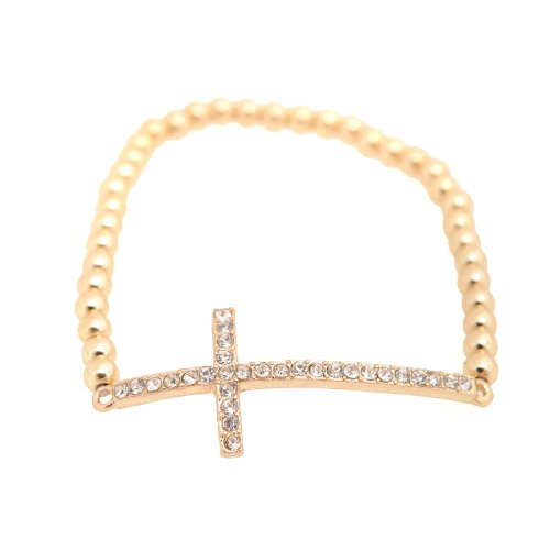 Spinningdaisy Spiritual Crystal Cross Bracelet Gold Color