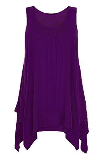 Ladies Flared Hanky Hem Vest Top Womens Raw Edge Ruched Slouch Tunic Top 8-26 (XL (UK 16-18), Purple)