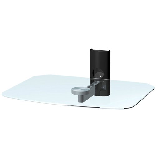 OLLO: OlloFlex® Glass Component Shelf with Brushed Aluminum Arm with Cable Cover