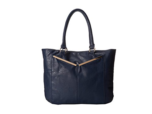Rampage Large Satchel Bag with Gold-Tone Accent Front Pocket RP3252 Navy blue