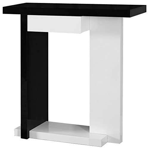 Monarch Specialties Glossy White/Black Hall Console Accent Table, 32-Inch