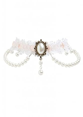 Romantic Pastel White Rose Victorian Style Pastel Lace Bridal Fashion Choker Vintage Necklace for Weddings