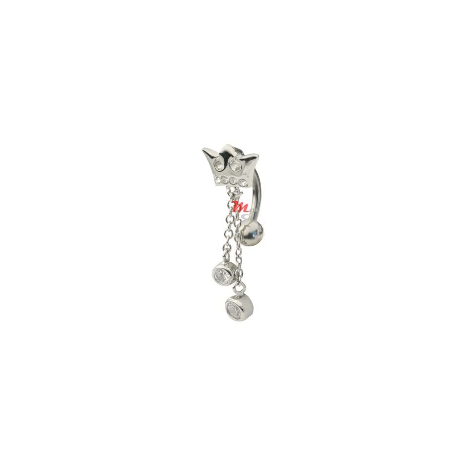 Princess Jeweled Crown Dangle Reverse Navel Belly Ring