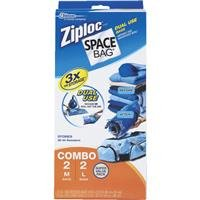 "Space Bag, # Br-5868-3, 4 Piece Dual Use Combovacuum Seal Storage Bags, Contains 2 Medium & 2 Large, Evacuate Air By Vacuum Or By Rolling The Air Out Of The Bag., Each, Clear, 6"" X 3"" X 13"""