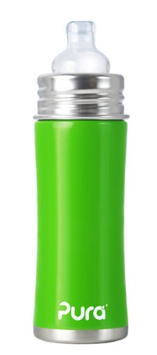 Pura Stainless Kiki Sippy Bottle Stainless Steel, 11 Ounce, Spring Green