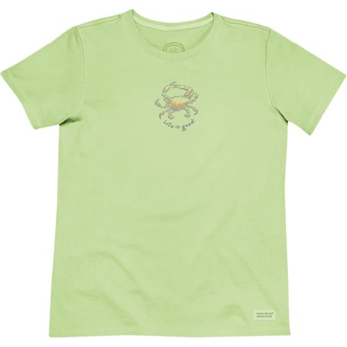Life is good Crab Crusher T-Shirt, Lime Green, X-Small