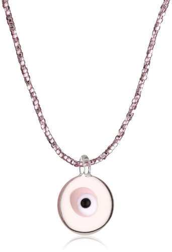 Yummi Glass Murano Glass Pink-Color Evil Eye Pendant Necklace