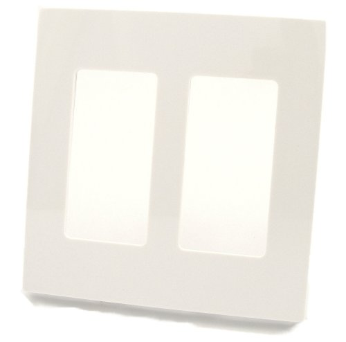 Leviton 80309-SW 2-Gang Decora Plus Wallplate Screwless Snap-On Mount, White
