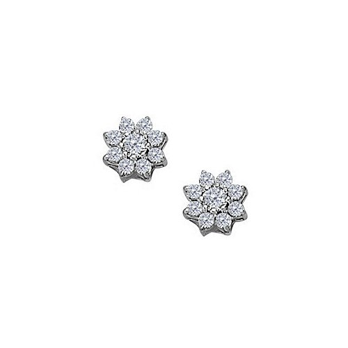 April Birthstone Cubic Zirconia 9 Stone Cluster Earrings In 925 Sterling Silver - B00UEUVF5A